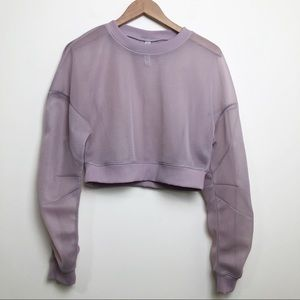 Alo Yoga Row Spongy Mesh Pullover Lavender Cloud